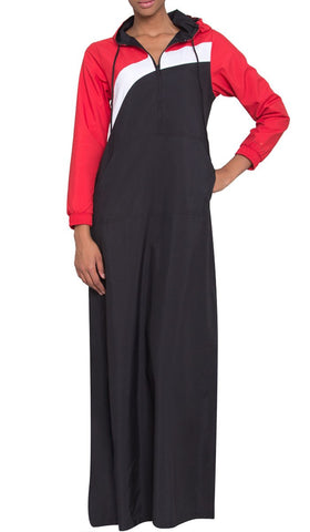 Celia Hooded Long Sport Maxi - Black/Red