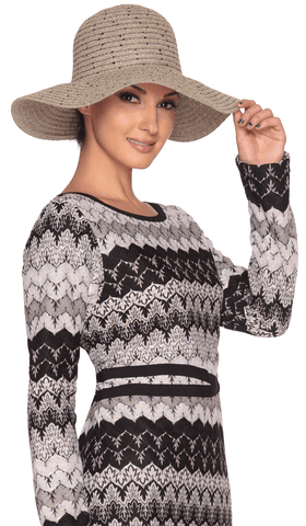 Taupe Chenille Womens Floppy Hat with Sequins