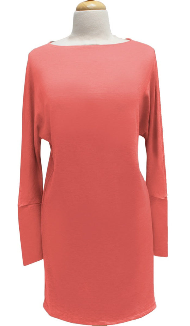 Kate Stylish Dolman Sleeve Stretch Long Tunic - Coral - ARTIZARA.COM