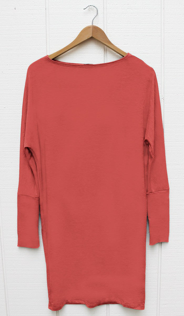 Kate Stylish Dolman Sleeve Stretch Long Tunic - Coral