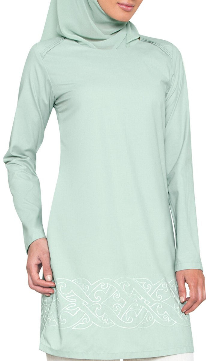 Coralie Embroidered Long Modest Muslim Tunic - Sage - ARTIZARA.COM