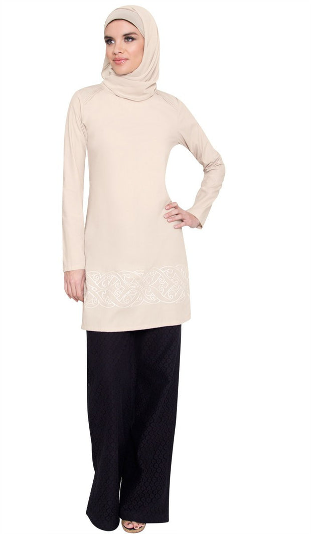 Coralie Embroidered Long Modest Muslim Tunic - Mocha - ARTIZARA.COM