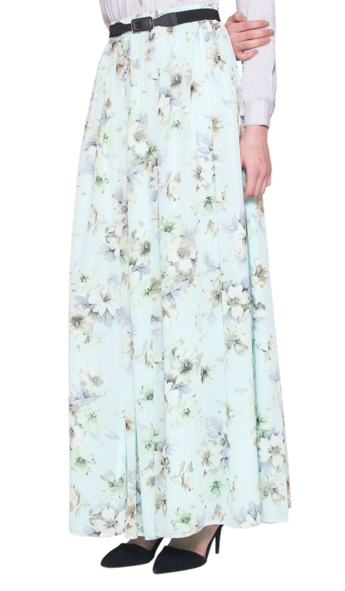 Brienne Floral Print Long Maxi Skirt - Mint - ARTIZARA.COM