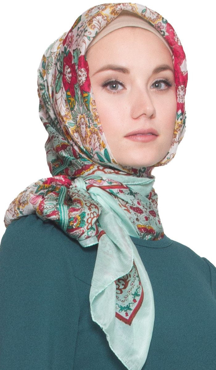 Floral Roses Large Square Silk Wrap Hijab Scarf - Light Green