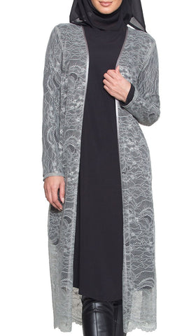 Lightweight Long Eyelash Lace Kimono Duster - Gray - ARTIZARA.COM
