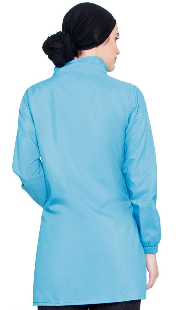 Deana Long Modest Muslim Sport Jacket - Blue - ARTIZARA.COM