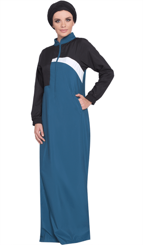 Elian Long Sport Maxi Dress - Blue/Black - ARTIZARA.COM