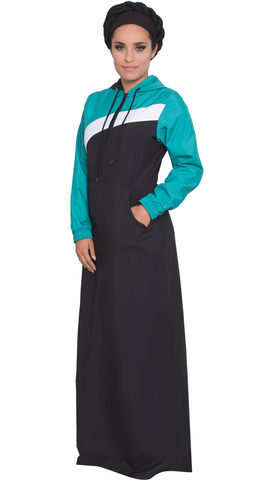 Celia Hooded Long Sport Maxi - Black/Teal