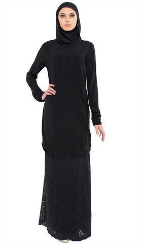 752d2f0da3e Falisha Long Modest Muslim Tunic - Black - ARTIZARA.COM