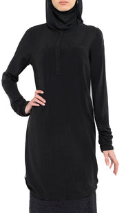 Falisha Long Modest Muslim Tunic  - Black - ARTIZARA.COM