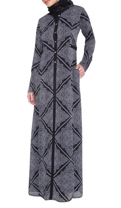 Ferda Black / Print 2 in 1 Reversible Abaya with wrap Hijab - ARTIZARA.COM
