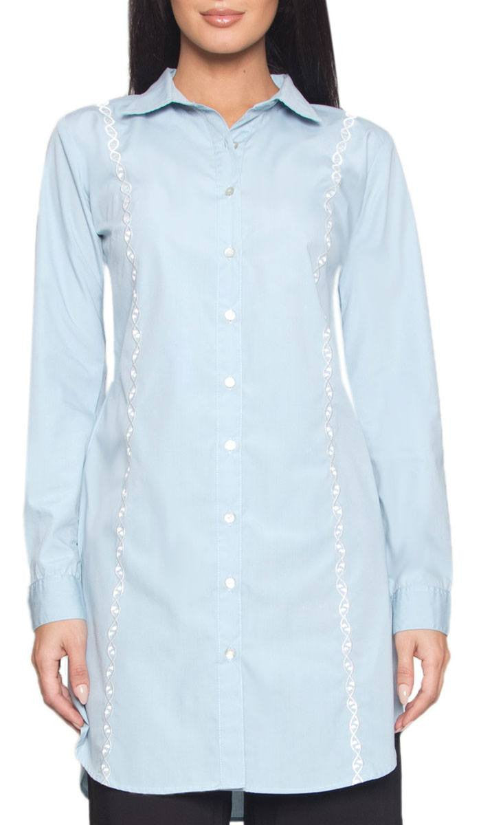 Geneve Fine Cotton Buttondown Modest Shirt - Sky - ARTIZARA.COM