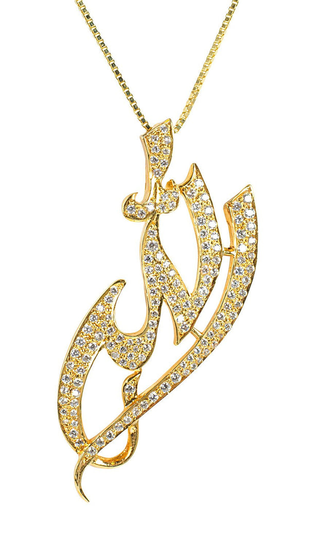 22k Goldplated Sterling Silver Pave Diamond-Look Allah Necklace - ARTIZARA.COM