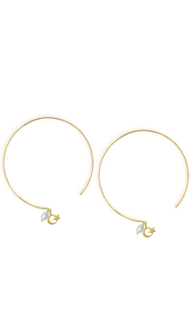 Goldplated Sterling Silver Crescent and Star Light Hoop Earrings - ARTIZARA.COM
