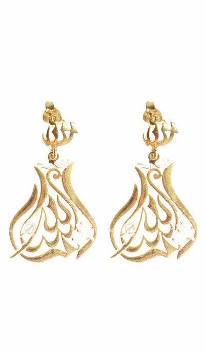 2 Tone Goldplated Sterling Silver MashAllah Earrings - ARTIZARA.COM