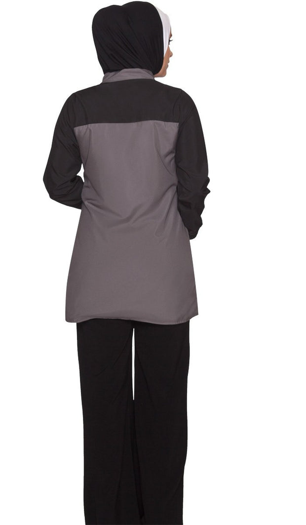Elian Long Lightweight Modest Muslim Sport Jacket - Grey/Black - ARTIZARA.COM