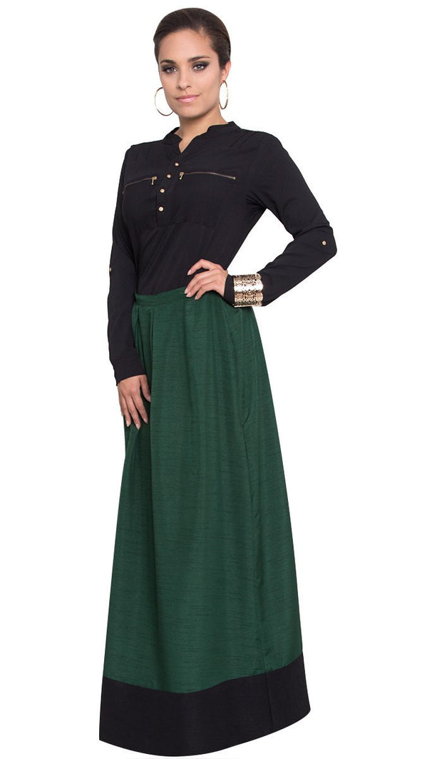 Bella Pleated Formal Long Maxi Skirt - Green - ARTIZARA.COM