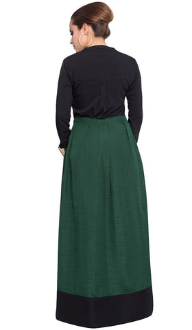 Bella Pleated Formal Long Maxi Skirt - Green