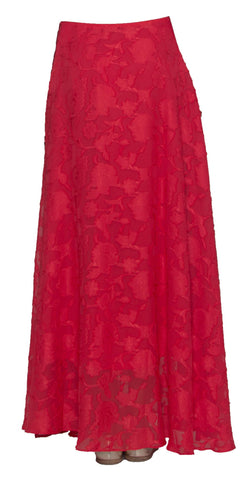 Hamra Burnout Chiffon Formal Long Maxi Skirt - Red