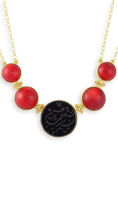 Hand Engraved Onyx, Coral and Gold-plated Sterling Silver Bismillah Necklace - ARTIZARA.COM