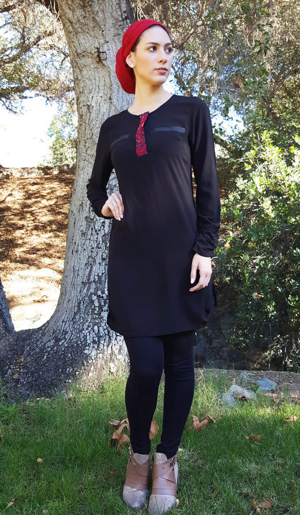 Hania Hand Embroidered Long Tunic - Black
