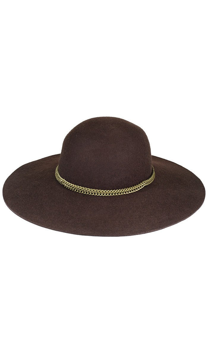 Brown Wool Felt Womens Floppy Hat with Chain