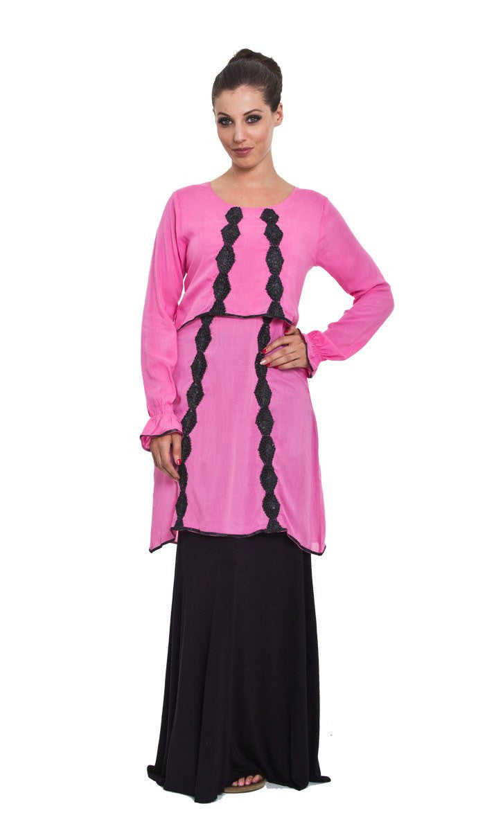 Hidaya Tiered Long Tunic with Ribbon Embroidery - Pink