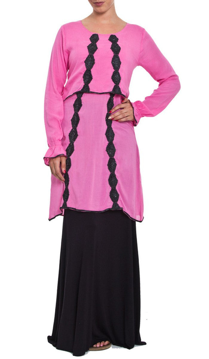Hidaya Tiered Long Tunic with Ribbon Embroidery - Pink - ARTIZARA.COM