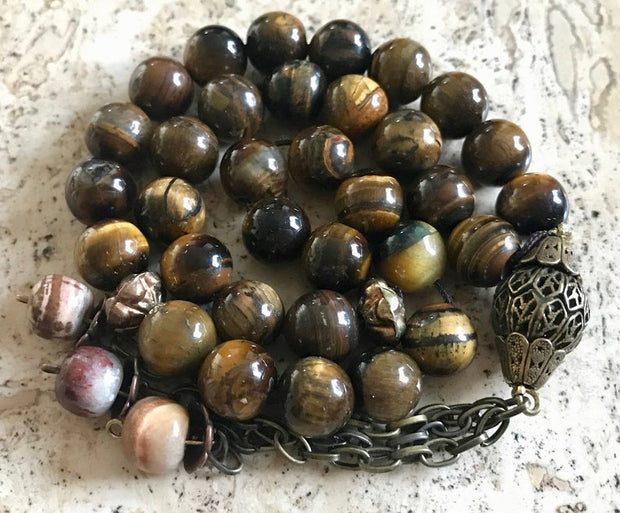 Handmade Tiger Eye Agate on Antique Metal Tasbih, Tasbeeh, Misbaha, Sebha, Prayer Beads