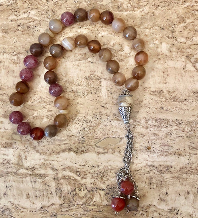 Handmade Glass cut multi-colored agate Tasbih, Tasbeeh, Misbaha, Sebha, Prayer Beads
