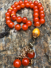Handmade Orange Glass Sebha,Tesbih, Tasbih, Prayer & Meditation Beads