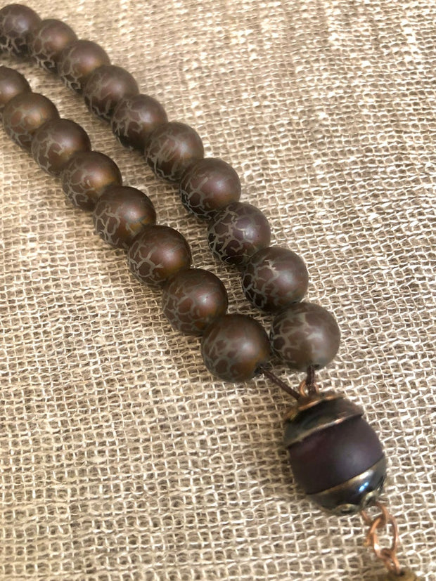 Handmade Chocolate Hive Glass Sebha, Misbaha Prayer Beads, Tasbih, Meditation and Prayer Beads