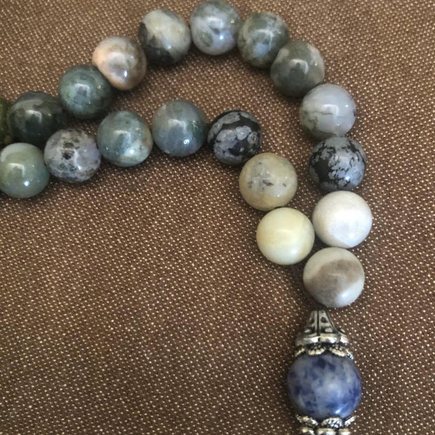 Handmade Sky Agate Sebha, Misbaha, Tasbih, Meditation and Prayer Beads