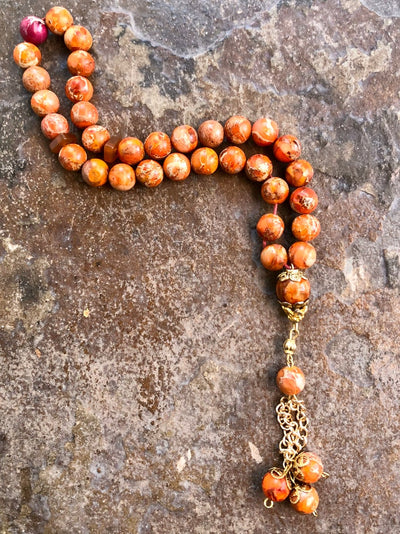 Handmade Fire Imperial Jasper Sebha, Misbaha, Tasbih, Meditation and Prayer Beads