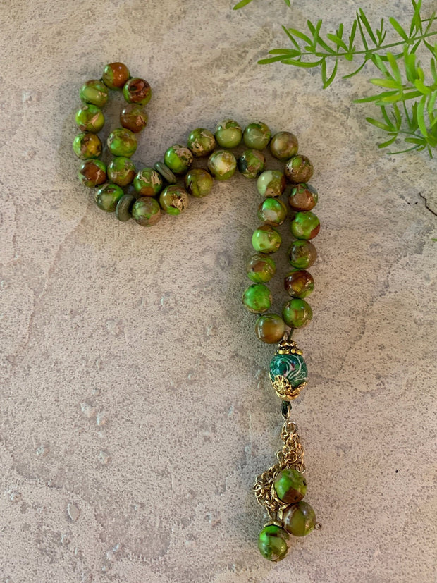Handmade Imperial Green Jasper on Gold Tasbih, Tasbeeh, Misbaha, Sebha, Prayer Beads