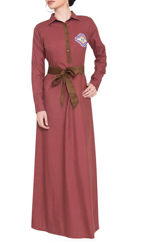Imara Palestinian Embroidered Long Maxi Dress - Marsala