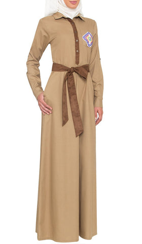 Imara Hand Embroidered Long Maxi Dress Abaya - Khaki