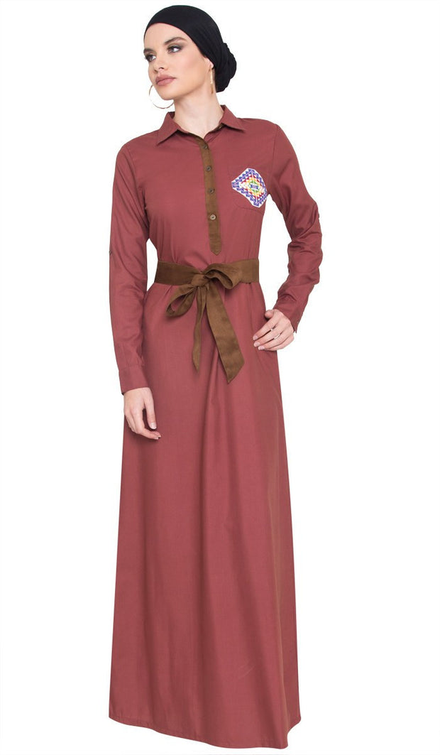 Imara Palestinian Embroidered Long Maxi Dress - Marsala - ARTIZARA.COM