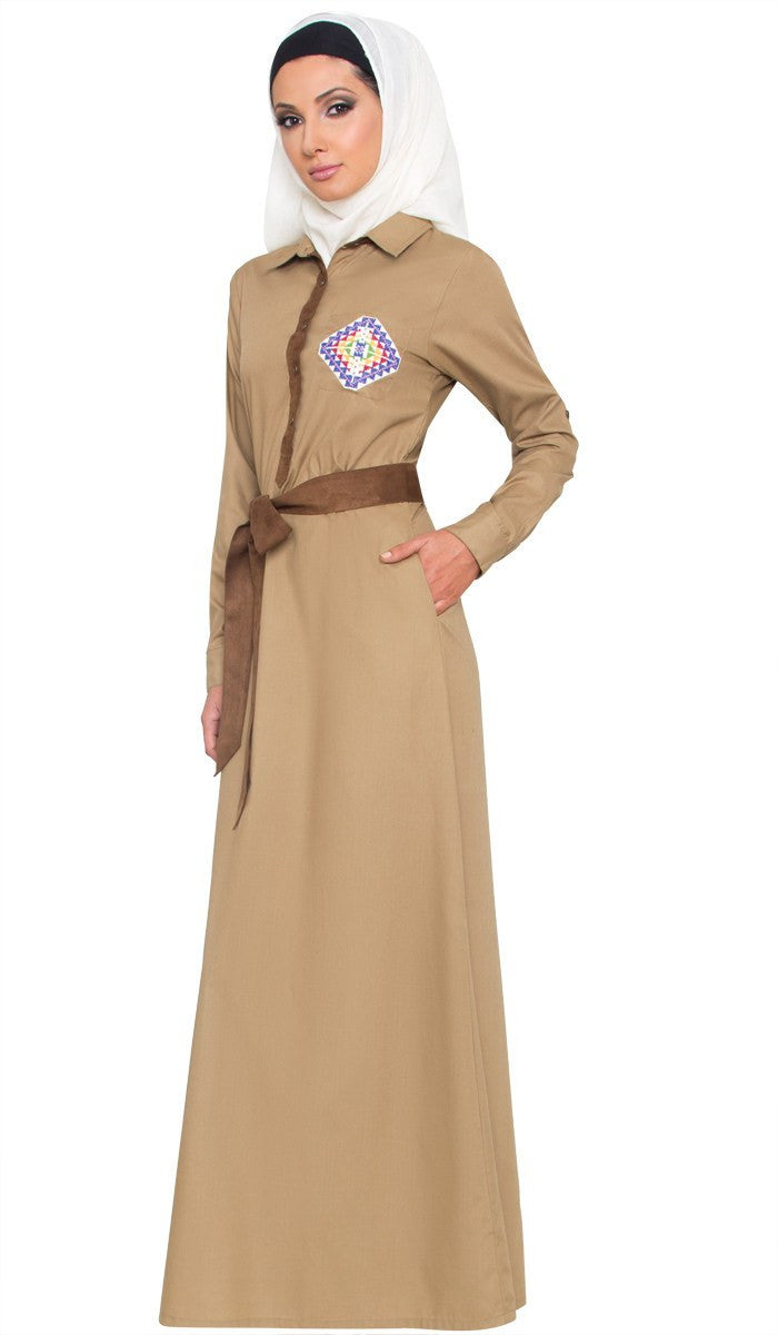Imara Hand Embroidered Long Maxi Dress Abaya - Khaki - ARTIZARA.COM