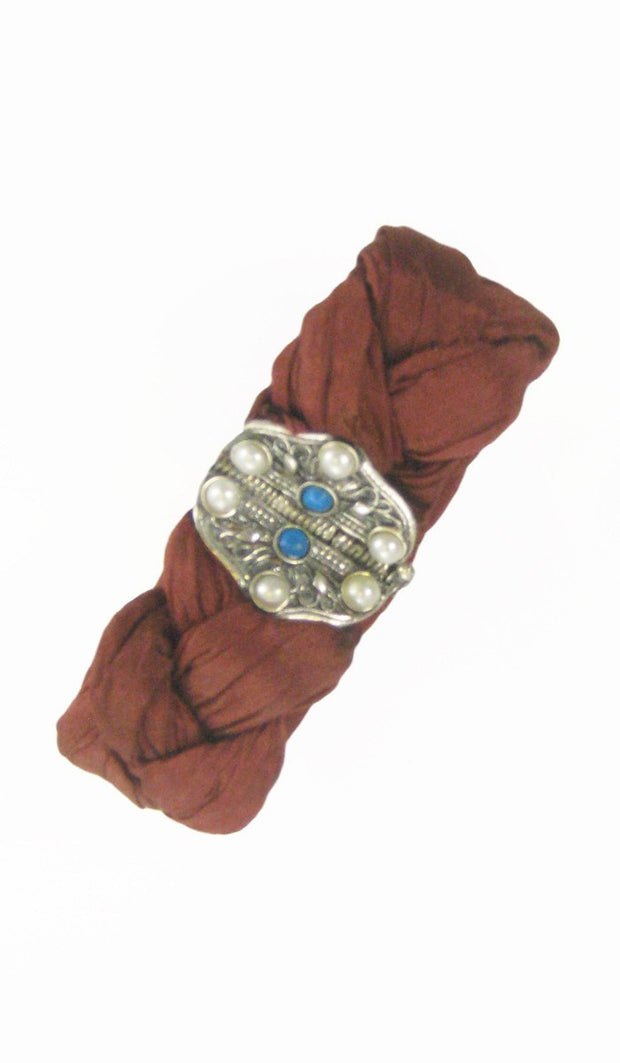 Sterling Silver, Aqiq, Turquoise and Silk Hand-made Islamic Bracelet - ARTIZARA.COM