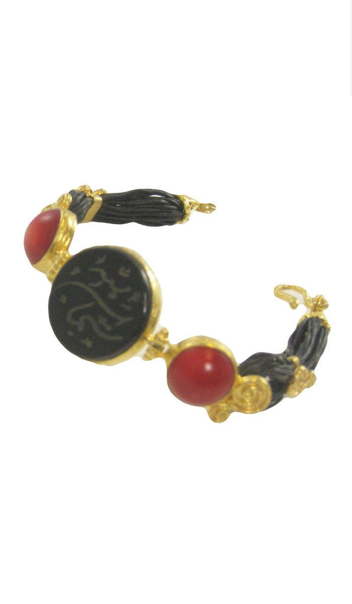 Gold-plated Sterling Silver, Aqiq and Coral Subhan Allah (Praise) Islamic Bracelet - ARTIZARA.COM
