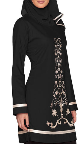 Isabel Floral Embroidered Long Tunic - Black
