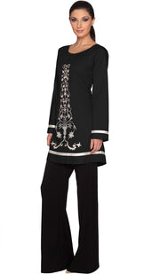 Isabel Floral Embroidered Long Tunic - Black - ARTIZARA.COM