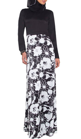 Talia Long Sleeve Modest Muslim Formal Evening Dress - Black and White