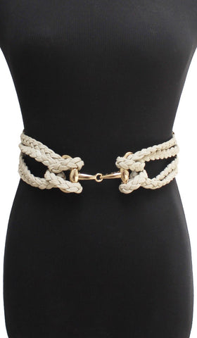 Multi-Braided Adjustable Stretch Elastic Belt - Ivory - ARTIZARA.COM