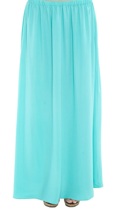 Izzah Gathered Long Maxi Skirt- Aqua - ARTIZARA.COM