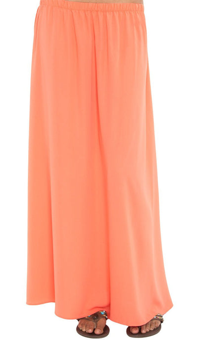 Izzah Gathered Long Maxi Skirt- Coral - ARTIZARA.COM
