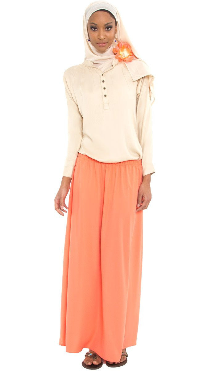 Izzah Gathered Long Maxi Skirt- Coral