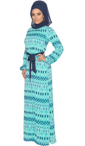 Jayma Printed Chiffon Maxi Dress with Scarf - Aqua/Navy - ARTIZARA.COM