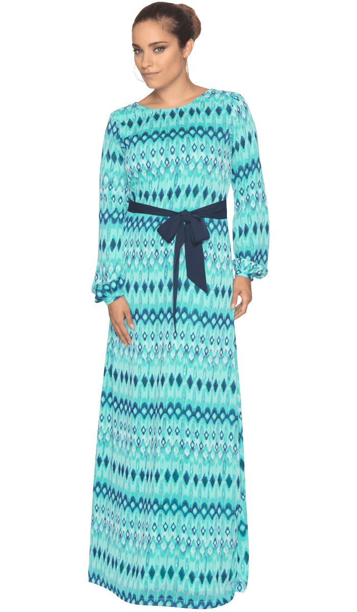 Jayma Printed Chiffon Maxi Dress with Scarf - Aqua/Navy